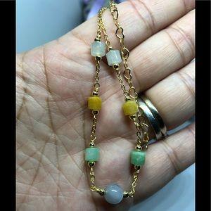 Jewelry - Beautiful multi color jade 14K gold bracelet